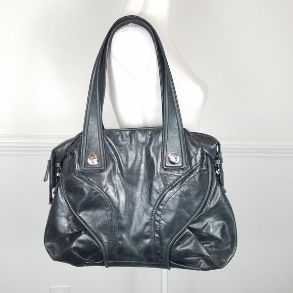 Francesco Biasia Leather Shoulder Purse Black